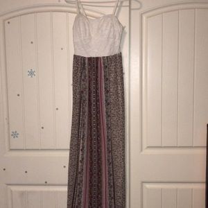 Maxi Dress With White Lace Top